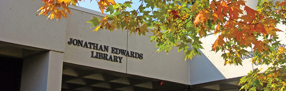 An image of the Jonathan Edwards Library entrance in the fall.