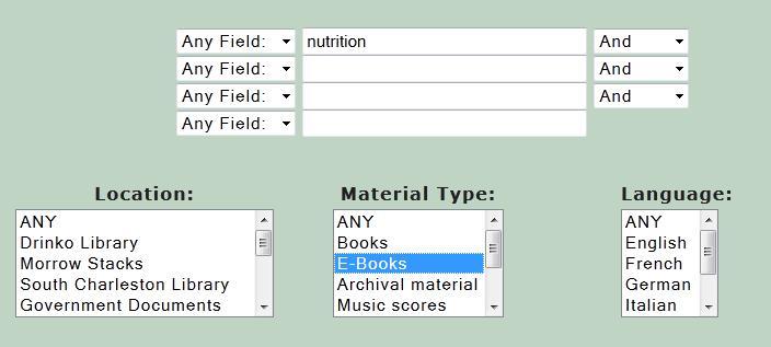 Nutrition ebook search