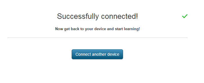 successfully connected message screenshot