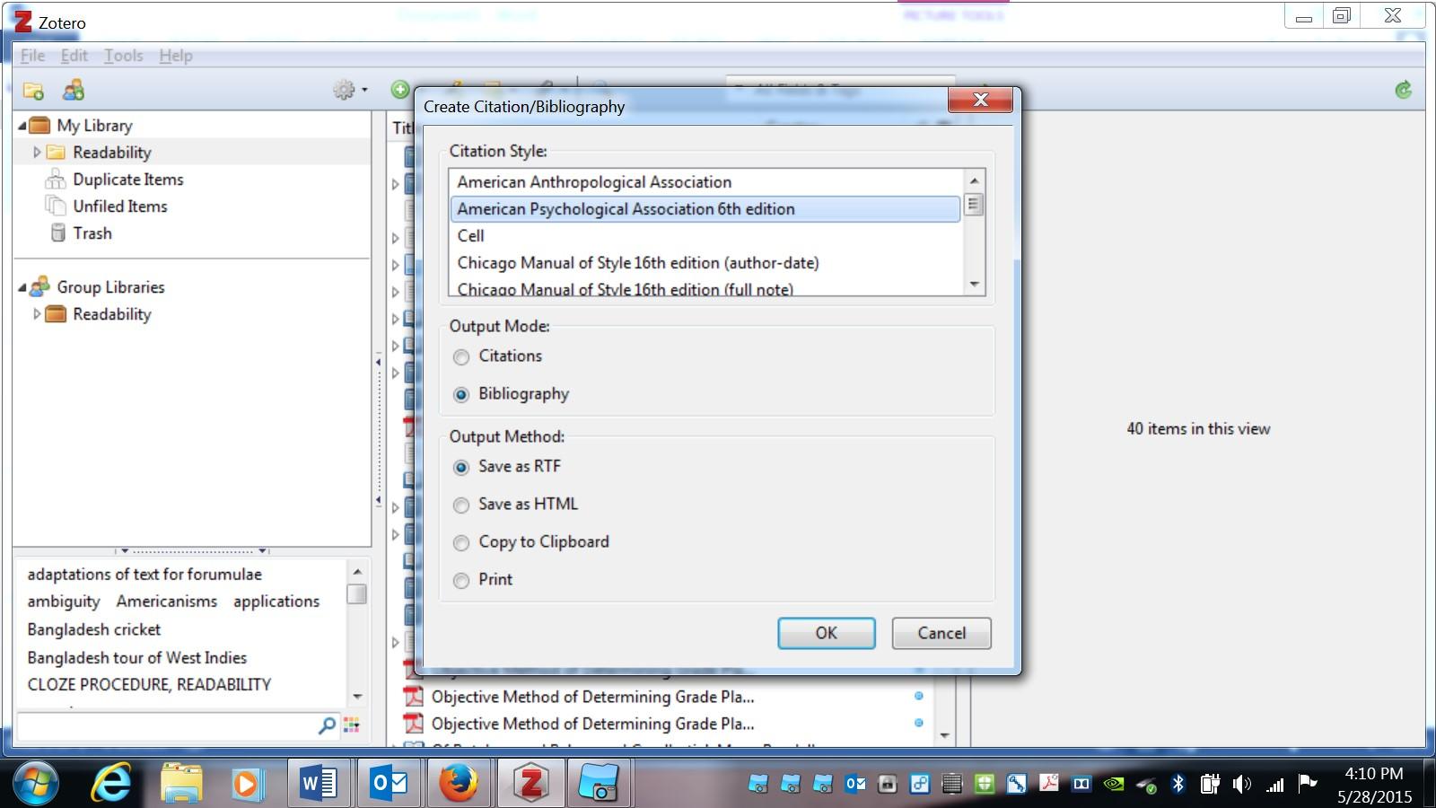 Bibliography options