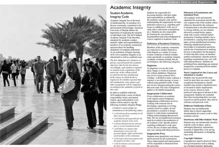 Academic Integrity description from the AUS undergraduate catalog