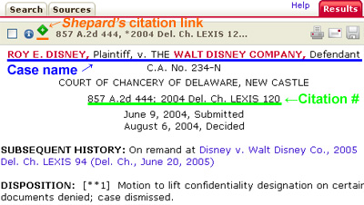 screenshot of results from shepard's citation link