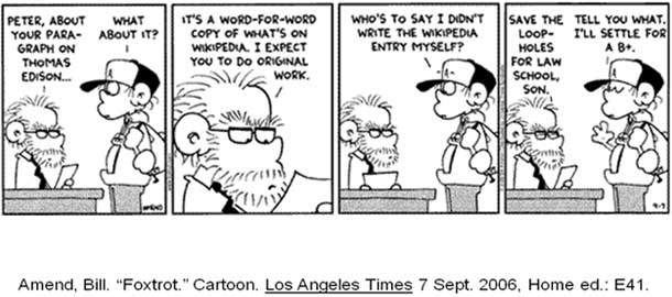Foxtrot comment about plagarizing Wikipedia on school work