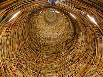 image of a tower of books