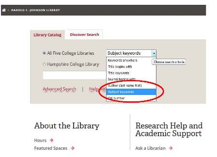 Library catalog search box