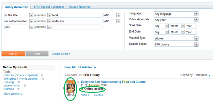 Identify E-books in SPU Library Catalog