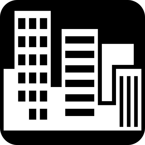 black and white city buildings icon