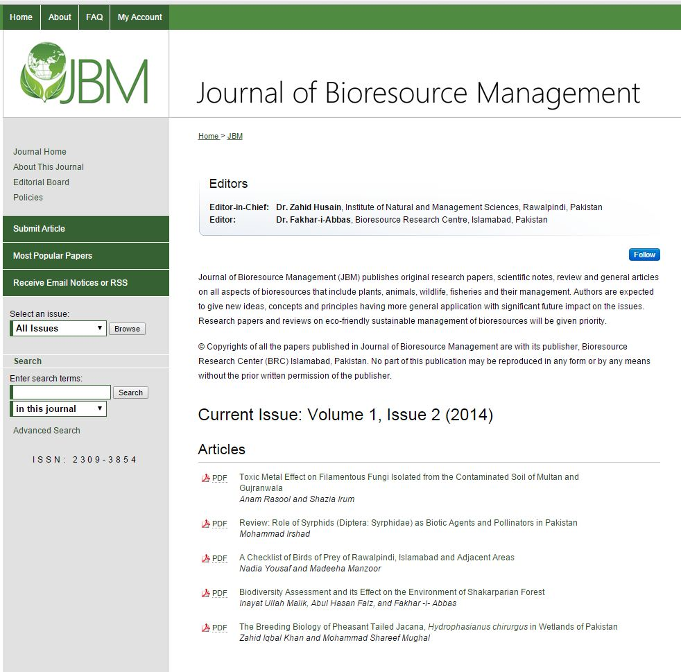 home page of Journal of Bioresource Management