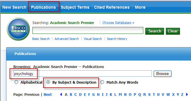 The image below shows the location of the Publications link in the top blue band, entering the search term in the search box, and choosing to search by subject and description.