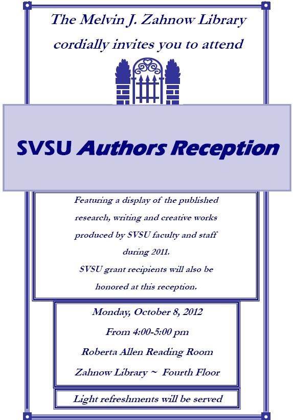 SVSU Authors Reception Flyer image