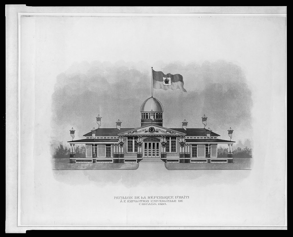 Lithograph of the exterior view of the pavilion for the Republic of Haiti at the World's Columbian Exposition in Chicago, Illinois, 1893