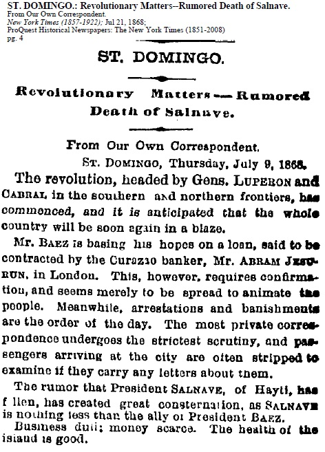 Newspaper Article on St. Domingo