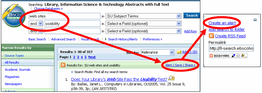 Choose to create an alert in EBSCO