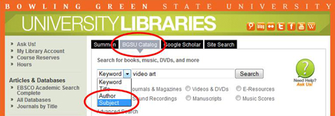 Catalog subject search