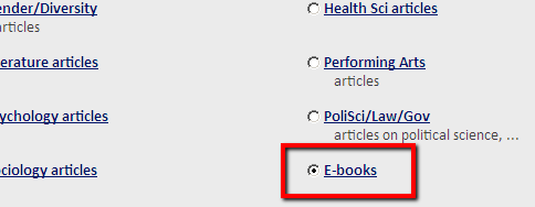 Finding ebooks in QuickSearch