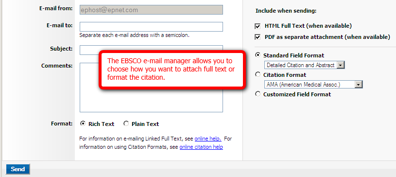 EBSCO e mail manager