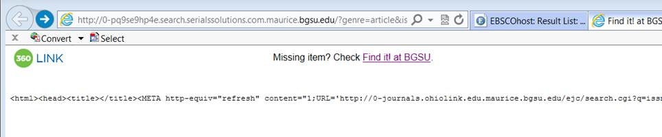 "Error reads ""Missing item?  Check Find it at BGSU!"" with a URL listed below."