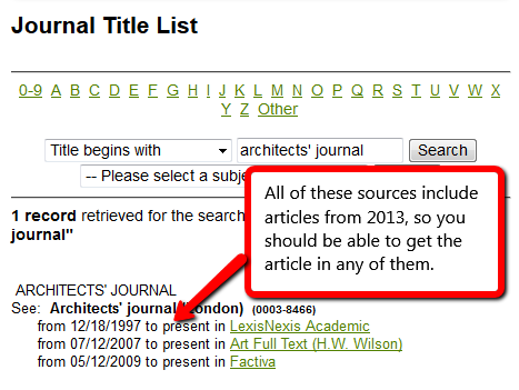 Search results for Architects' Journal indicate that articles from 2013 are available from three different databases.