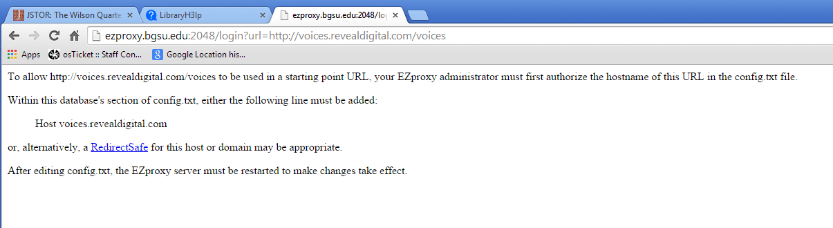 "Error message starts with ""To allow http://voices.revealdigital.com/voices to be used in a starting point URL, your EZproxy administrator must first..."""