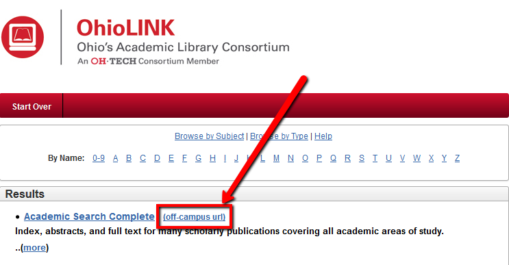 The off campus url appears next to the database name in the OhioLINK databases list.