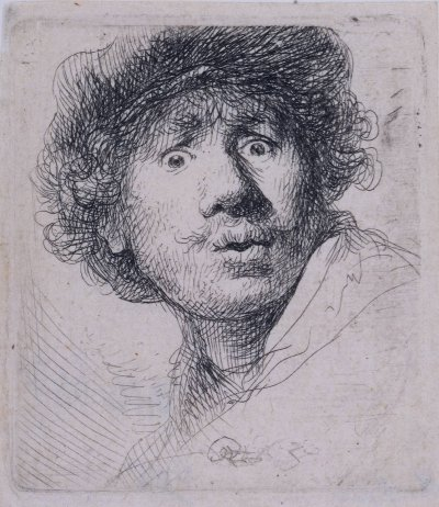 Rembrandt self-portrait, 1630