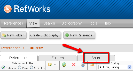 Share tab in RefWorks