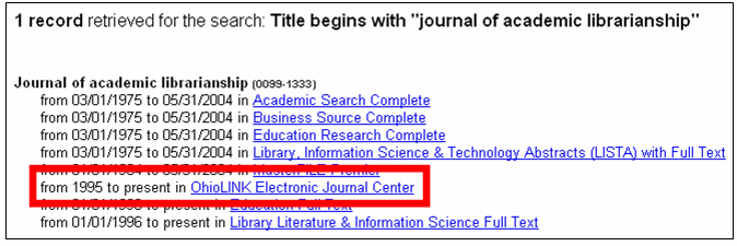 E-Journal Search Results