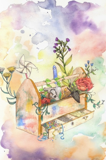 a toolbox full of flowers and tools, painted in soft watercolors