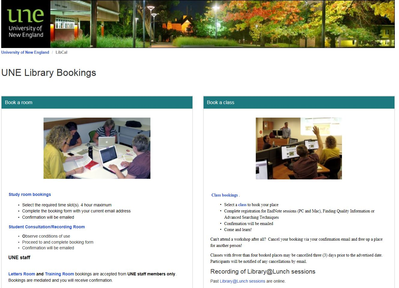 Screenshot of UNE Library Bookings page