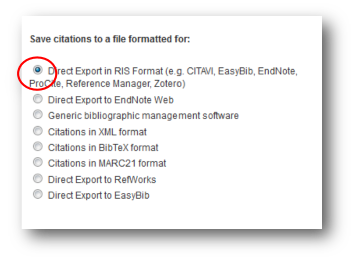 Save citations to a file formatted for: Direct Export in RIS Format (e.g. CITAVI, EasyBib, EndNote, ProCite, Reference Manager, Zotero).