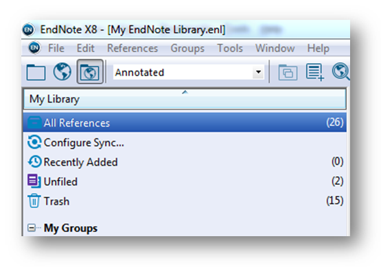 Screenshot of Configure Sync on the left of the EndNote screen