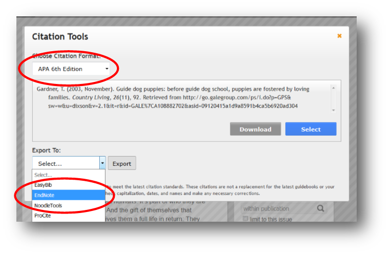 Choose Citation Format, Export To EndNote