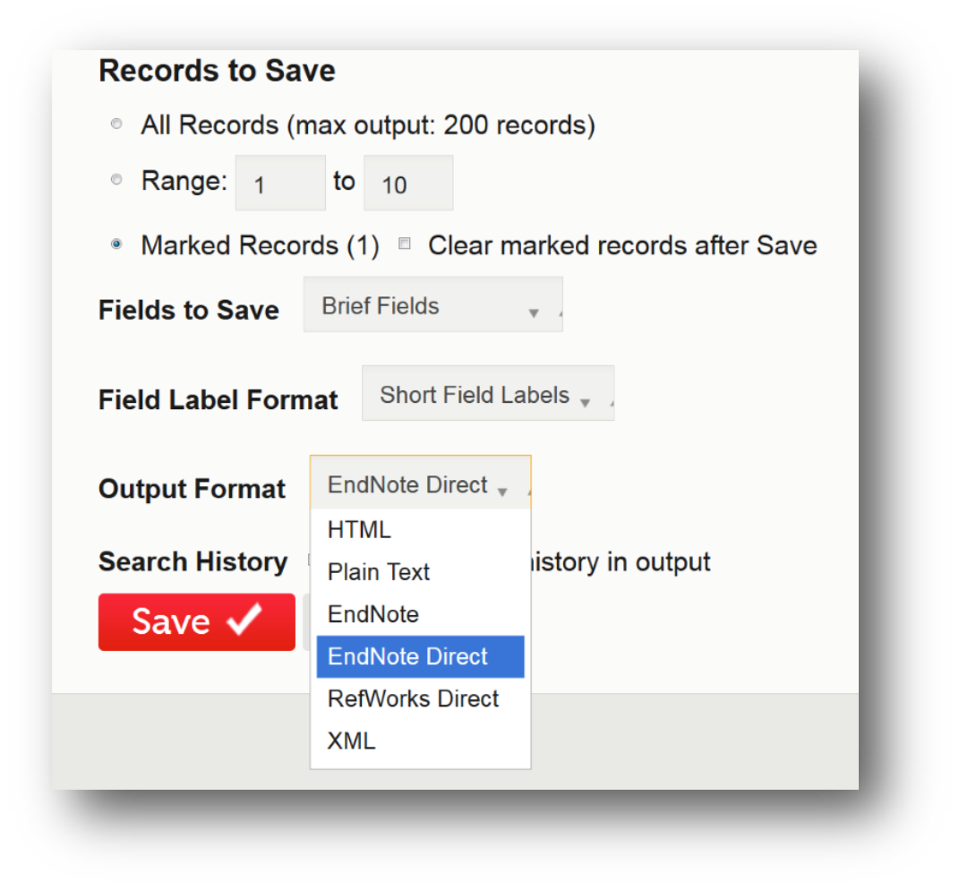 Records to Save - Output Format=EndNote Direct