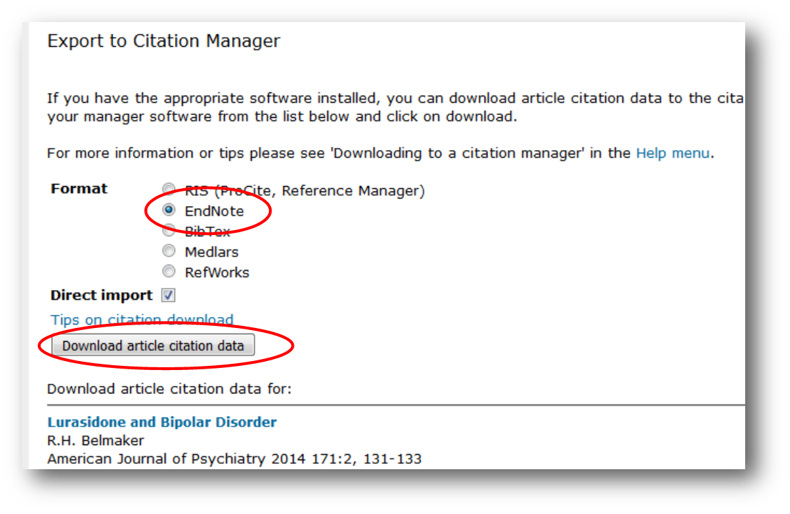 Export to Citation Manager – EndNote – Download article citation data