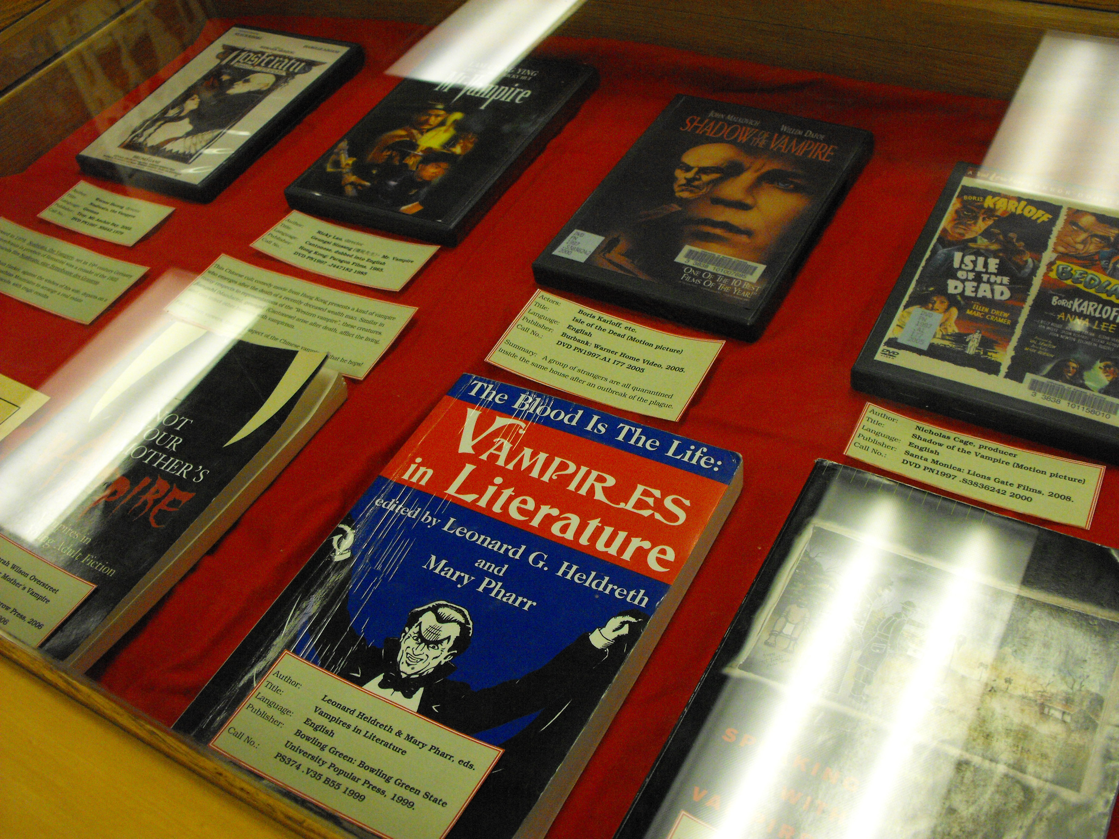 Book display of literature relating to vampires