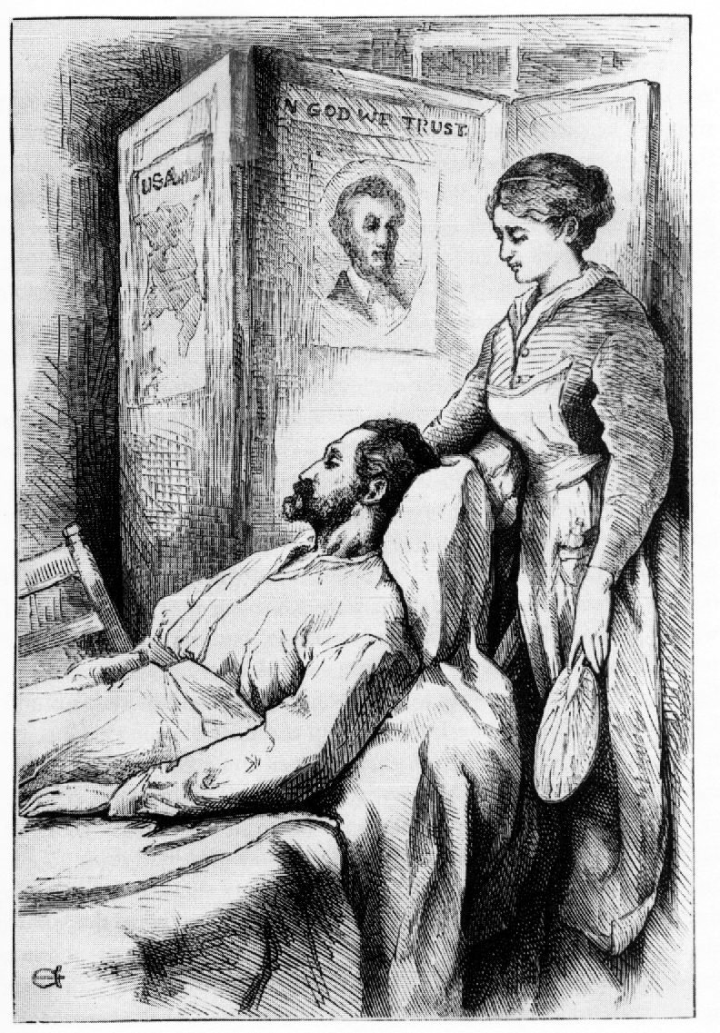 Illustration of John, a Virginia blacksmith, from a later edition of Hospital Sketches