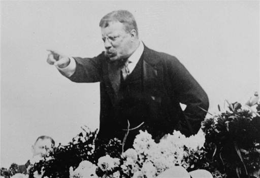 President Theodore Roosevelt speaks to a crowd with passion