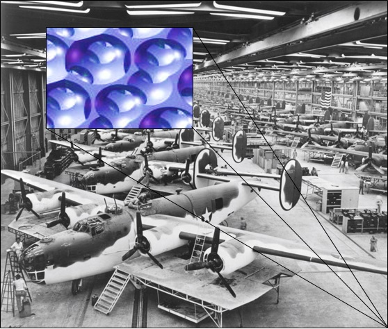 WW2 Assembly line and modern composite
