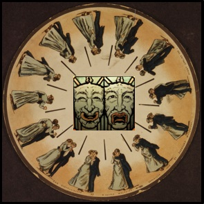 kinetic desk of old 1920s ball room dancers in a a circle with greek comedy and tragedy masks in the center