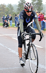 image of cyclist crossing finish line