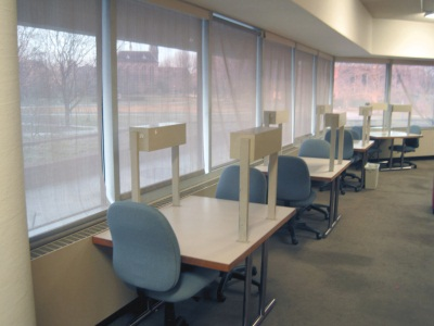 Individual study desks on the first floor