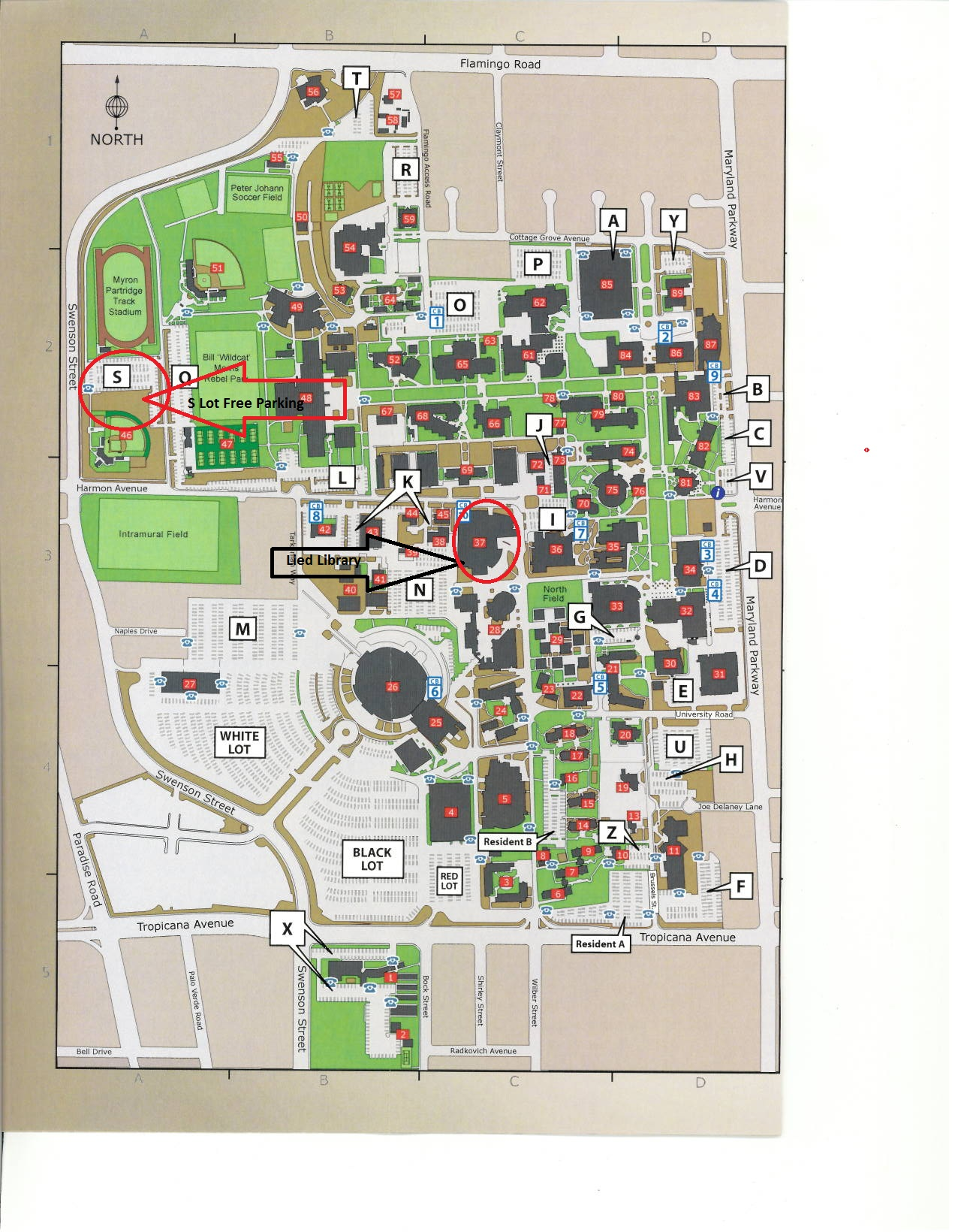 UNLV Map Lied Library & Free Parking