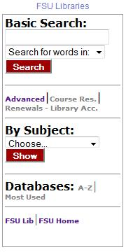 FSU Libraries Search Gadget