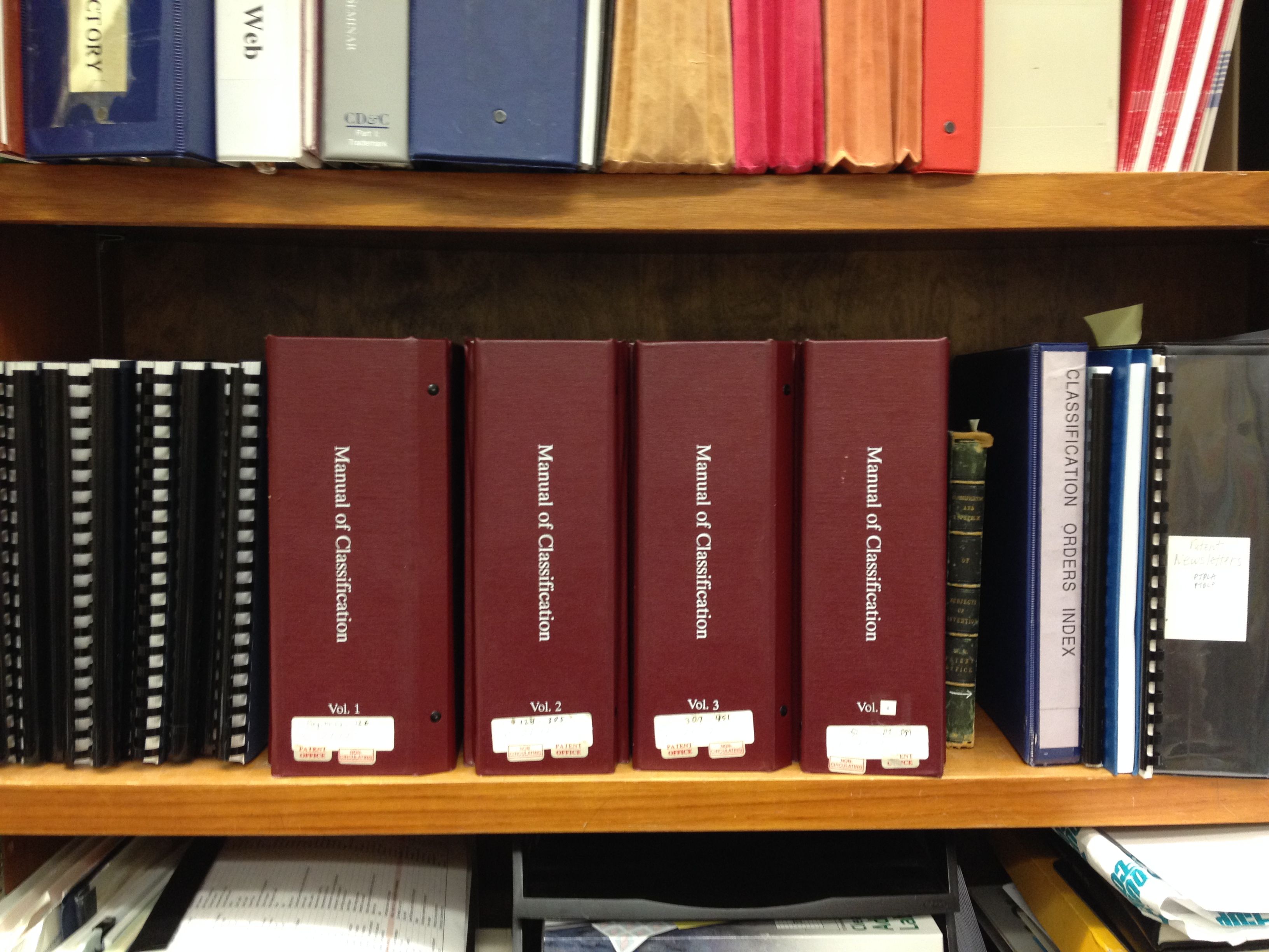 classification manuals on shelf