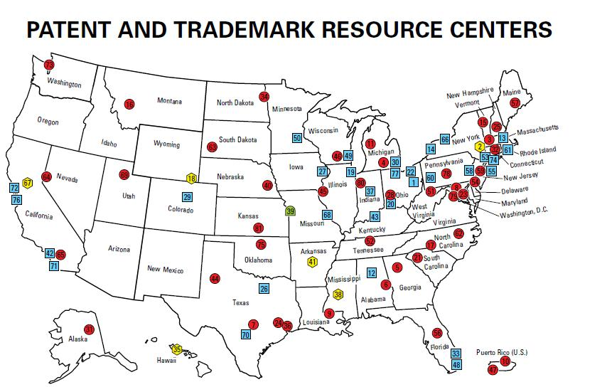 US map showing Patent & Trademark Resource centers