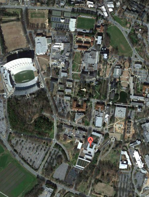 aerial view of Clemson campus, with Lee Hall location highlighted
