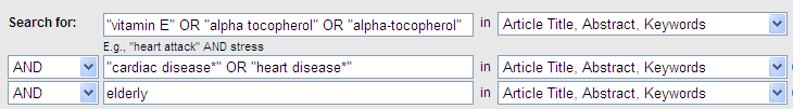 Scopus database search boxes