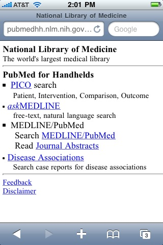 Screenshot of PubMed for Handhelds