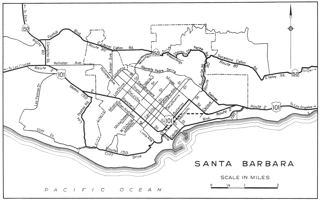1944 Road Map of Santa Barbara