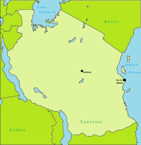 Colored Tanzania map